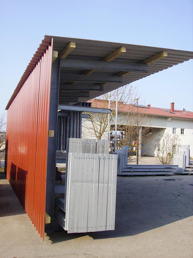 Kragarmregal mit Dachträger und Trapezblech